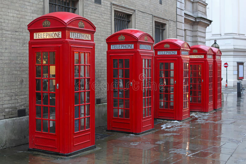 Telephone booths. Five telephone booths at West End in London stock photo