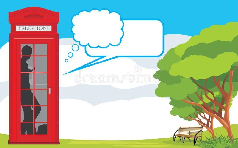 Telephone box on the landscape background vector illustration