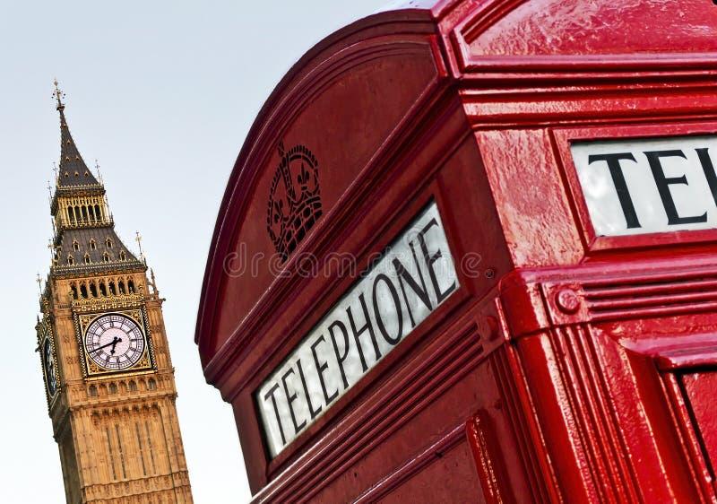 Telephone Box, London. Red telephone box and Big Ben, London, UK stock image