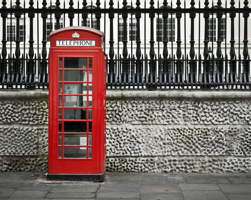 Telephone box, London. Classic red British telephone box in London stock image