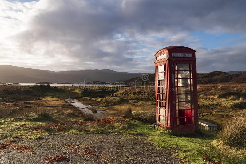 Telephone Box. A solitary telephone box near Kentra bay in ardnamurchan, Lochaber, Scotland royalty free stock image
