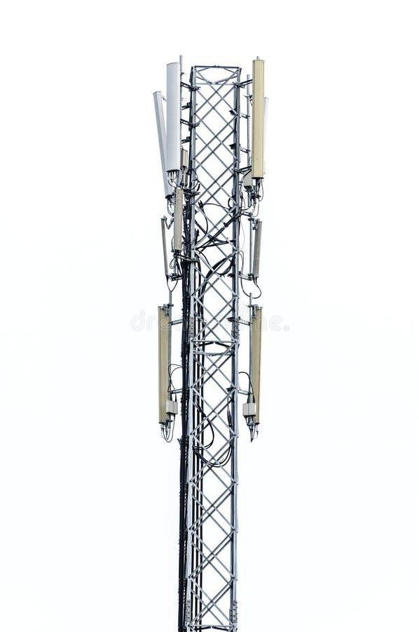Telephone broadcast pole. On white background stock photo