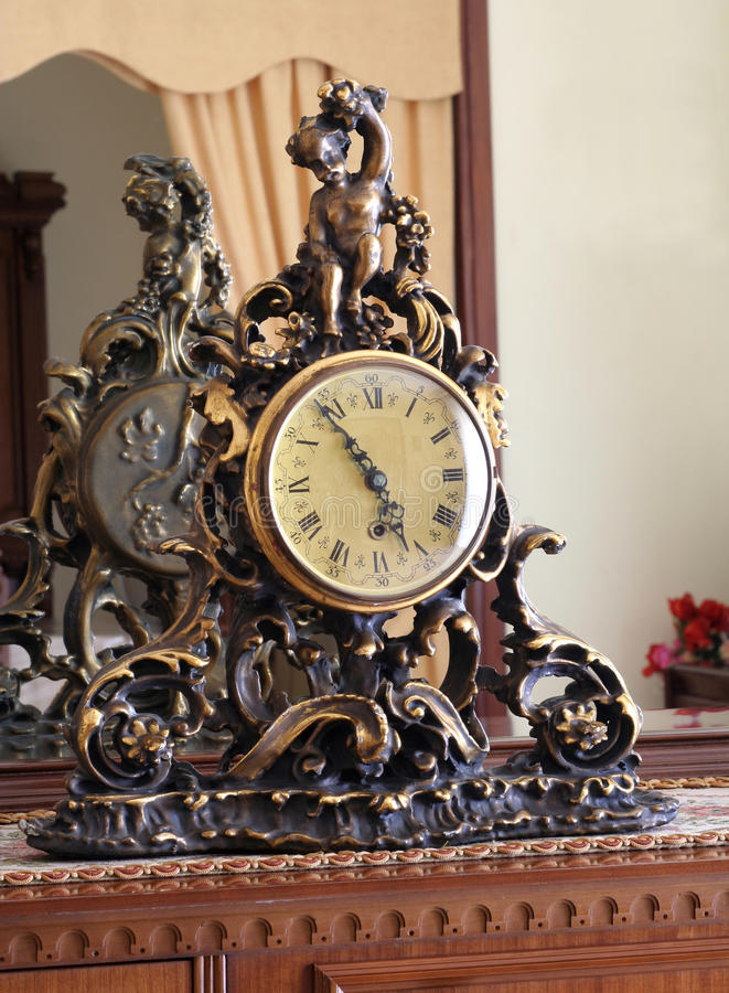 Old Clock In Luxury Lounge Stock Photography