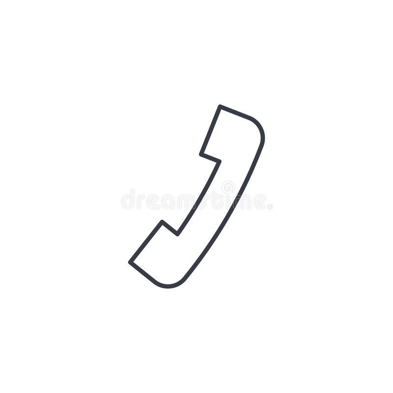 Telephone call, contact us, handset, phone thin line icon. Linear vector symbol stock illustration