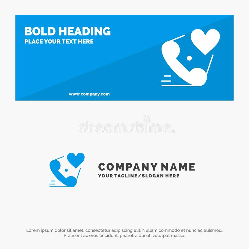 Telephone, Call, Heart, Love, Valentine SOlid Icon Website Banner and Business Logo Template royalty free illustration