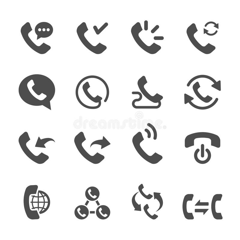 Telephone call icon set 2, vector eps10 stock illustration