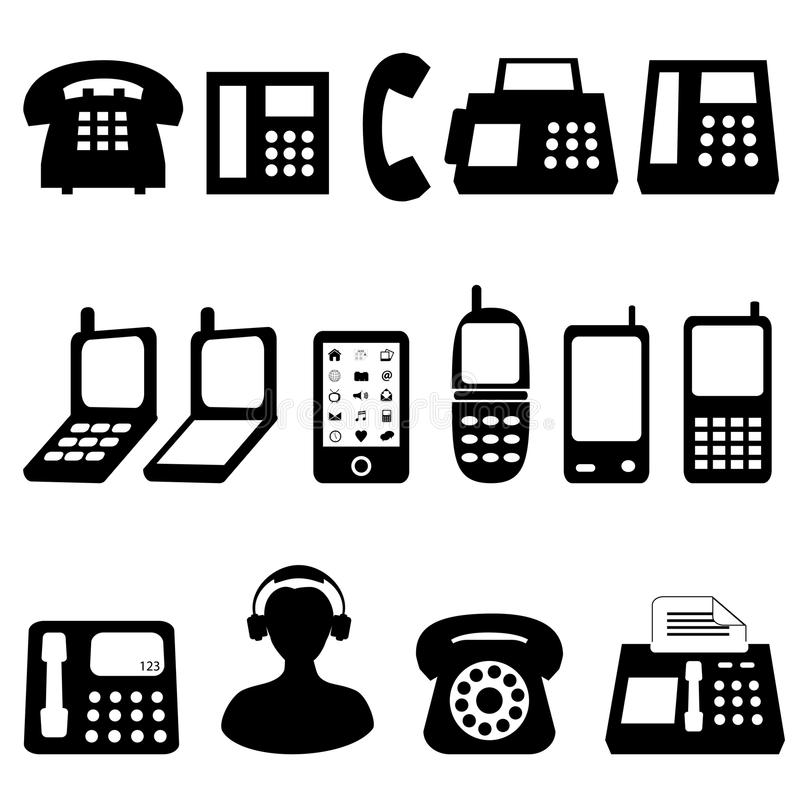 Telephone And Cell Phone Symbols Stock Vector Illustration Of
