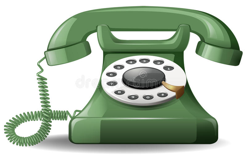Telephone. Close up green telephone in vintage design royalty free illustration