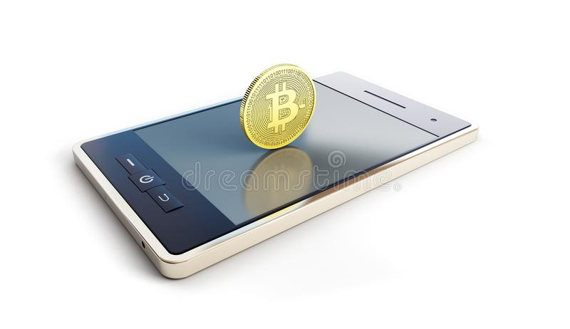Telephone with coin bitcoin on screen on a white background 3D illustration, 3D rendering royalty free illustration