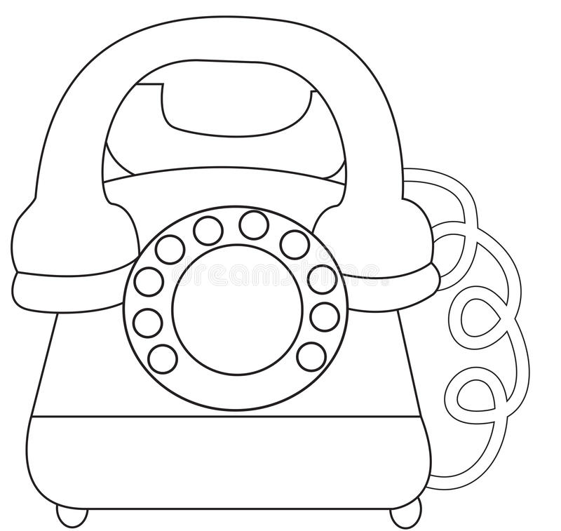 Telephone coloring page vector illustration