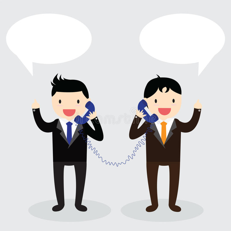Telephone Concept. Two businessman used telephone with speech bubbles to each other stock illustration