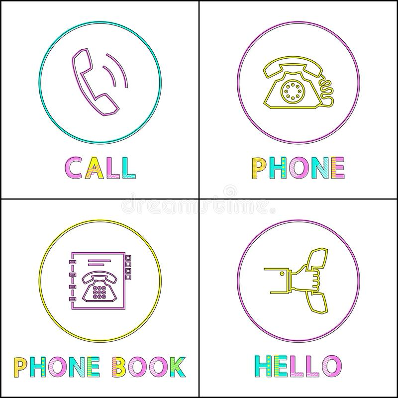 Telephone Conversation Device Linear Icons Set royalty free illustration