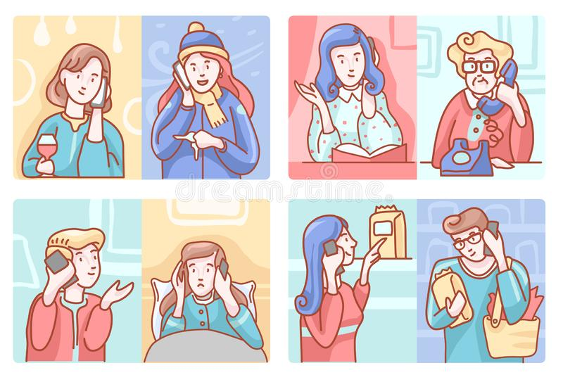 Smartphone Telephone Conversation Vector Set stock illustration