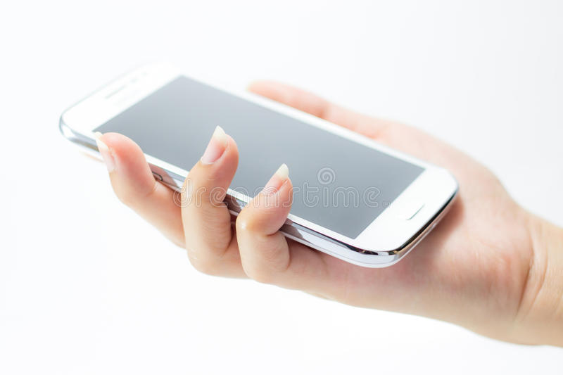 Telephone on hand. Cellphone cellular commercial communication communicator computer concept copy device digital display electronic empty equipment gadget hand royalty free stock images