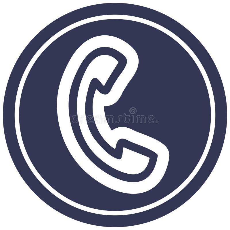 Telephone handset circular icon. A creative illustrated telephone handset circular icon image stock illustration