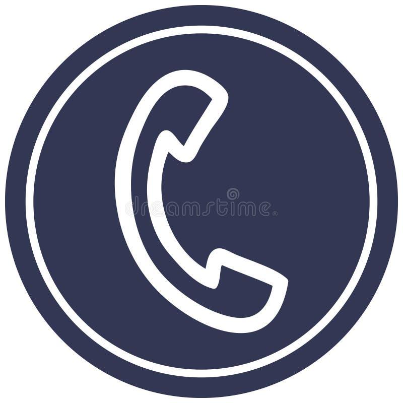 Telephone handset circular icon. A creative illustrated telephone handset circular icon image vector illustration
