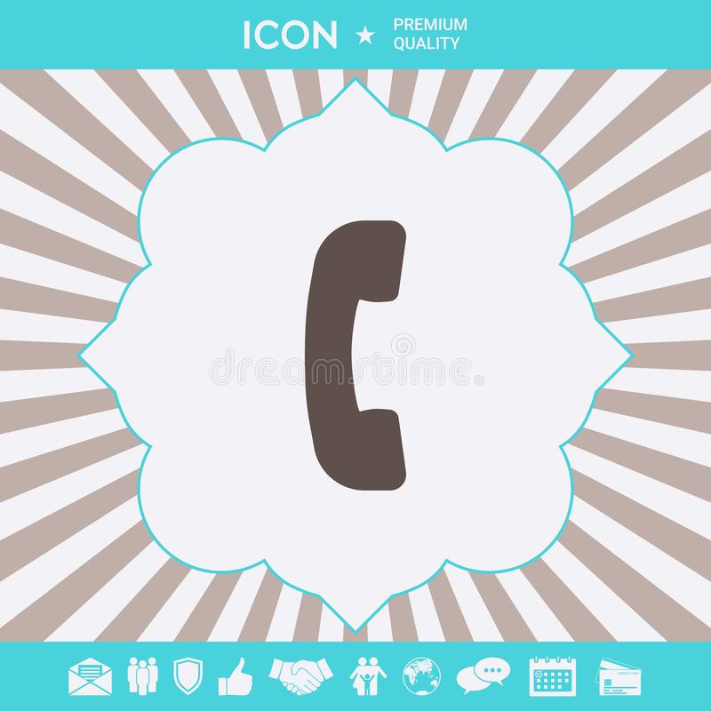 Telephone handset, telephone receiver symbol icon. Graphic elements for your design royalty free illustration