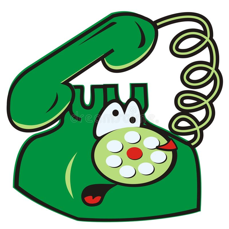 Telephone. Humorous vector icon. Vintage phone vector illustration
