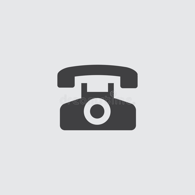 Telephone icon in a flat design in black color. Vector illustration eps10 royalty free illustration