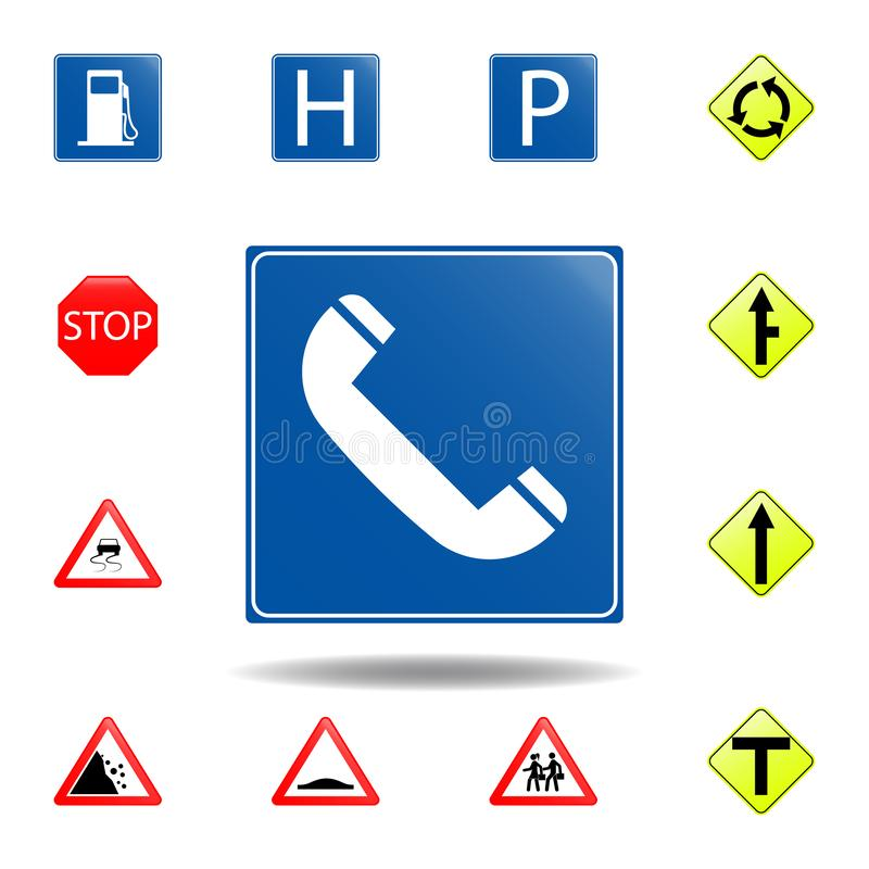 Telephone icon. set of road signs icon for mobile concept and web apps. colored telephone icon can be used for web and mobile. On white background stock illustration