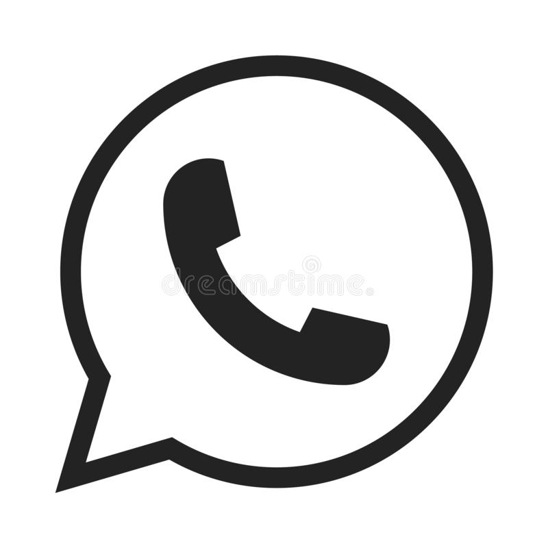 Telephone icon symbol, vector, whatsapp logo symbol. Phone pictogram, flat vector sign isolated on white background royalty free illustration