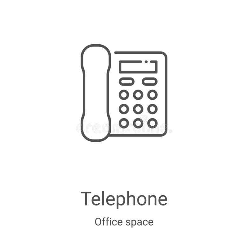 Telephone icon vector from office space collection. Thin line telephone outline icon vector illustration. Linear symbol for use on. Web and mobile apps, logo stock illustration