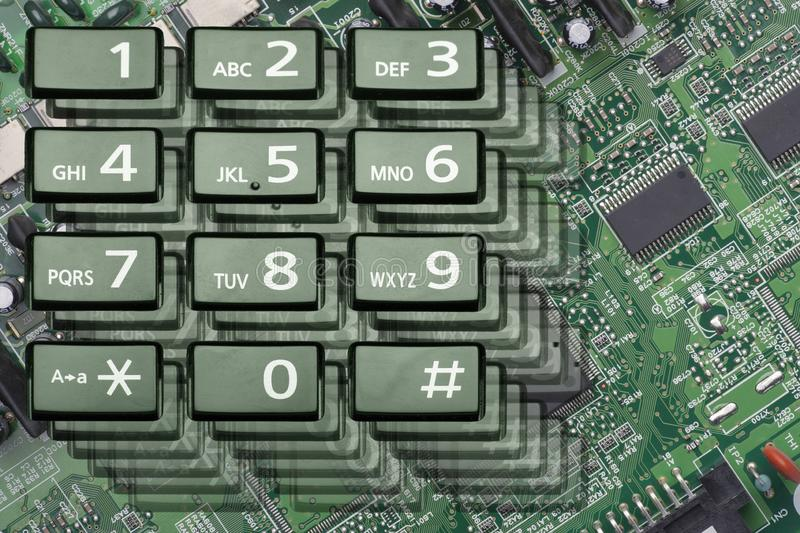 Telephone keypad with rectangular buttons close up. Limited depth of field royalty free stock photo