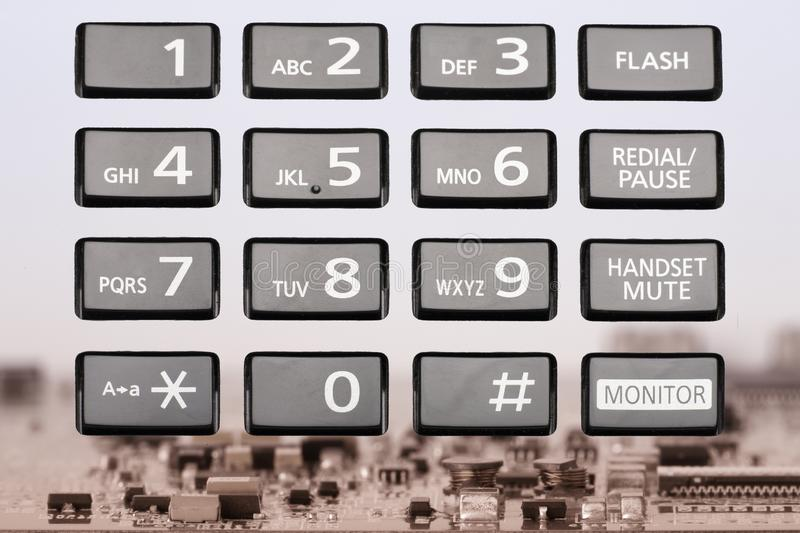Telephone keypad with rectangular buttons close up. Limited depth of field stock image