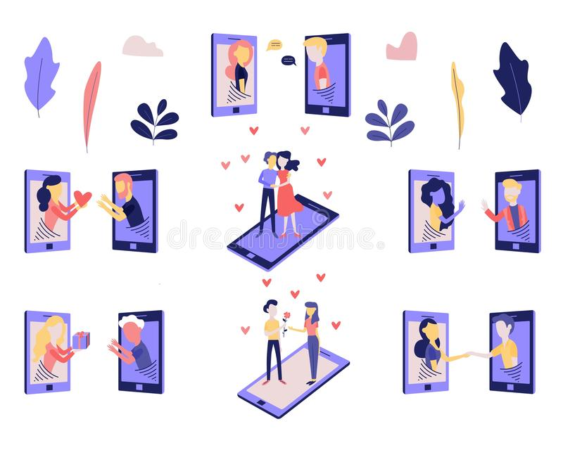 Telephone love and romantic relations on distance set. stock illustration