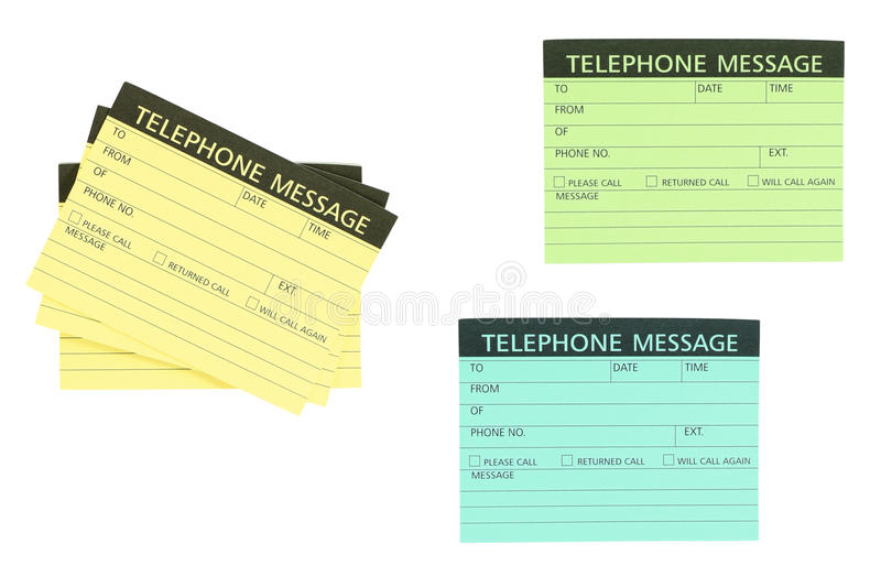 Telephone message note stock photo