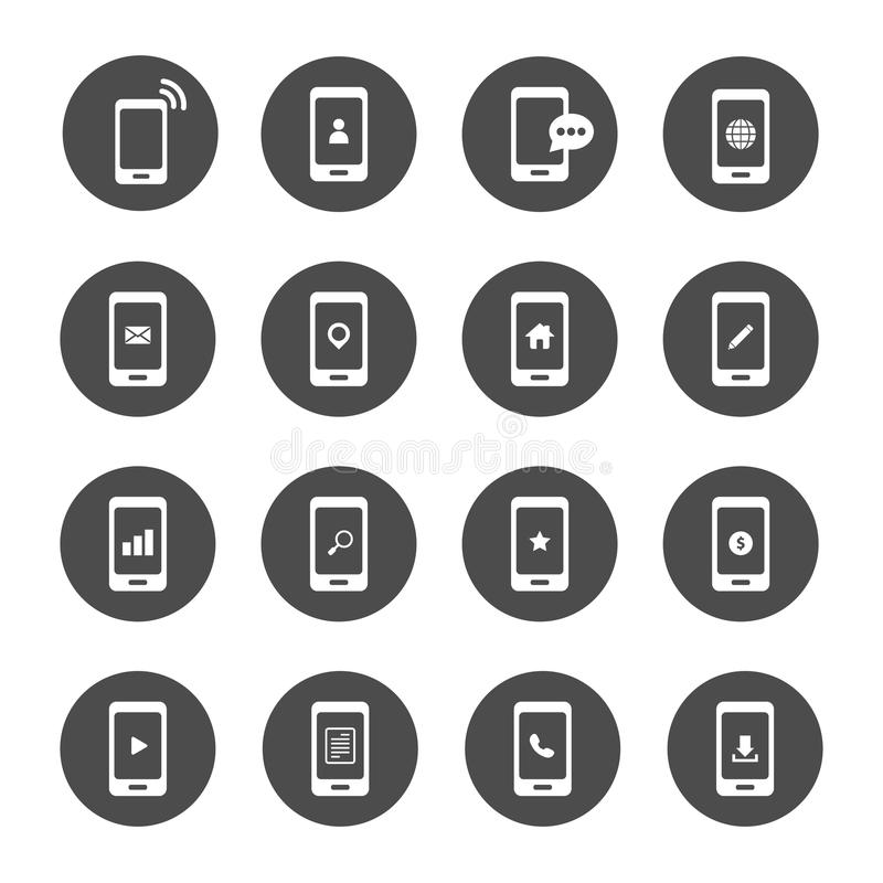 Telephone and mobilephone application for communication icon set vector illustration