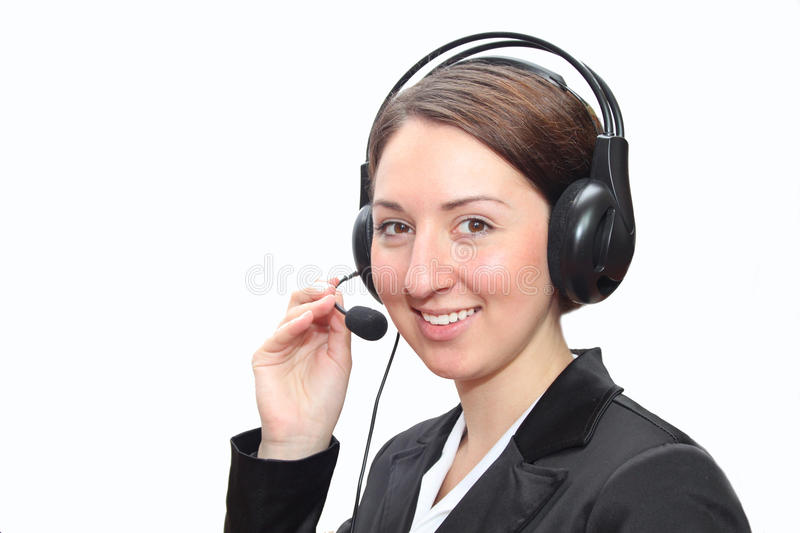 Telephone operator with headset royalty free stock photography