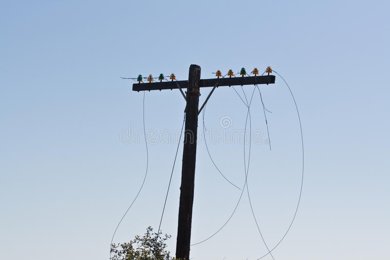 Telephone Pole. With cut wires stock image