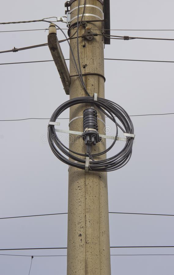 Telephone pole. A pole with a telephone connection fitting royalty free stock photos
