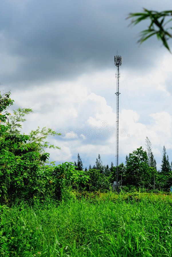 Telephone pole. Current communication must be fast. The installation of telephone towers must be sufficient to use royalty free stock photos