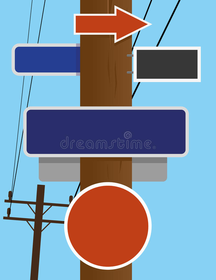 Telephone Pole Signs royalty free illustration
