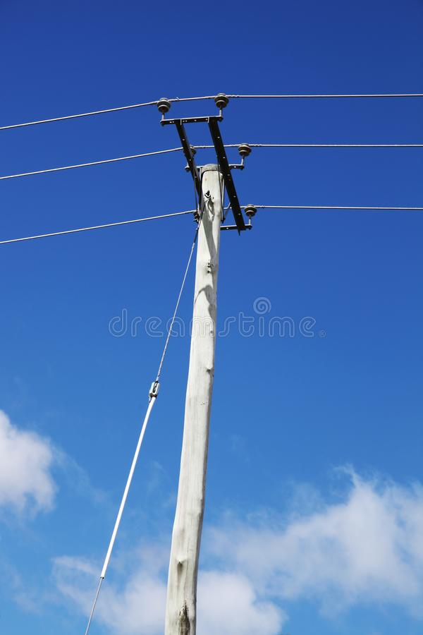 Telephone pole with wires. For communication stock image