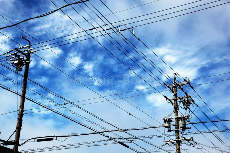 Telephone poles with wires. For communication connections royalty free stock photos
