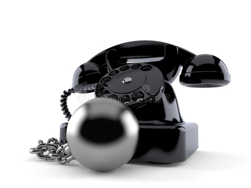 Telephone with prison ball. Isolated on white background. 3d illustration stock illustration