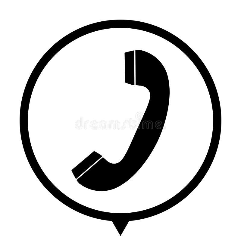 Telephone receiver - black icon for wed design. Telephone receiver - black vector icon; map pointer vector illustration
