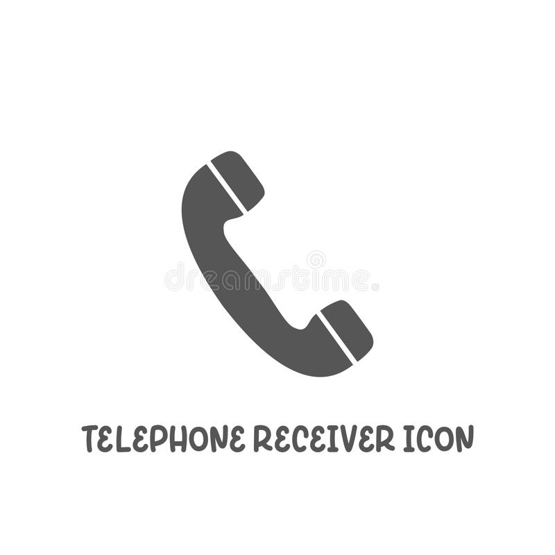 Telephone receiver icon simple flat style vector illustration. Telephone receiver icon simple silhouette flat style vector illustration on white background vector illustration