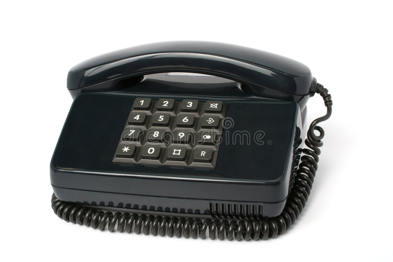 Telephone set of black color. Isolated royalty free stock images
