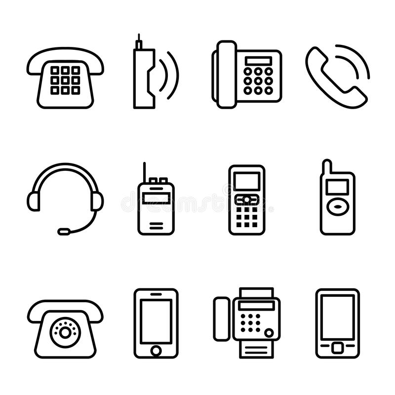 Telephone , Smart phone , fax icon set in thin line style royalty free illustration