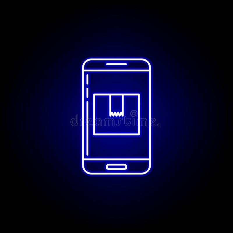 telephone smartphone parcel line icon in blue neon style. Set of logistics illustration icons. Signs, symbols can be used for web vector illustration