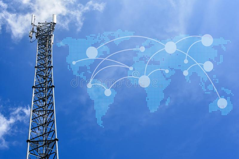 Telephone and telecommunications network towers around the world.  stock photography