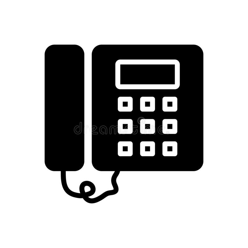 Black solid icon for Telephone, contact and phone. Black solid icon for Telephone, communication, science, technology,  contact and phone royalty free illustration