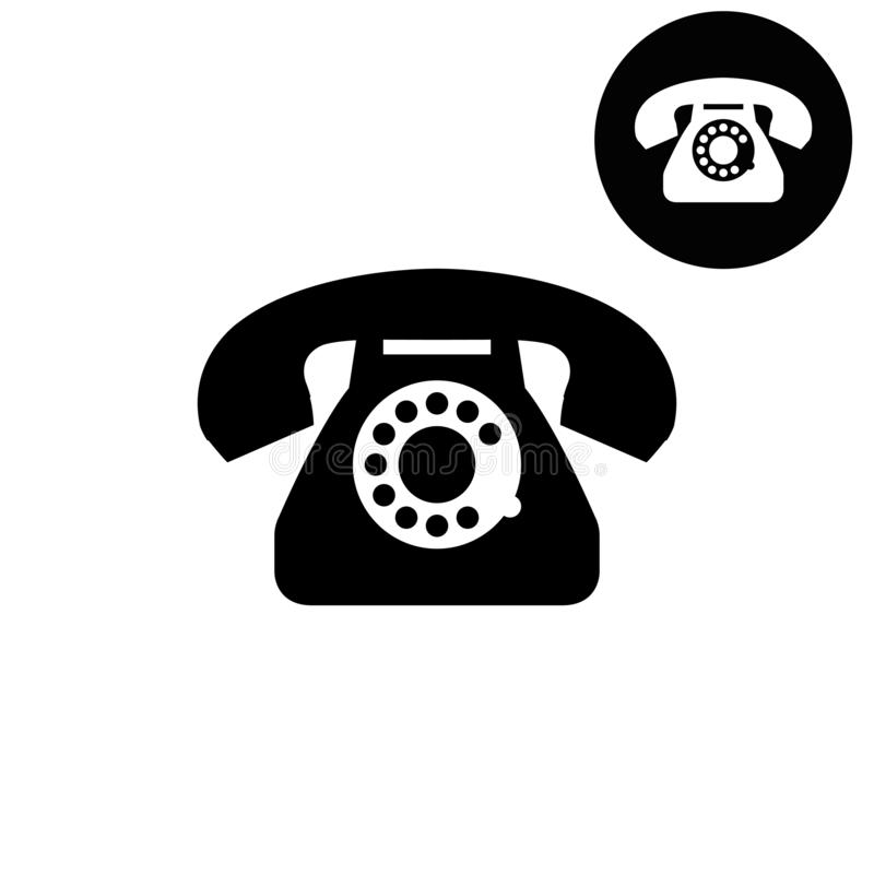 Telephone - white vector icon. Telephone vector design icon or logos for business, web stock illustration