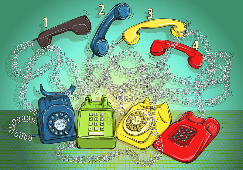 Telephone Wire Maze Game. Answer: 1-red; 2-green; 3-blue; 4-yellow. vector illustration