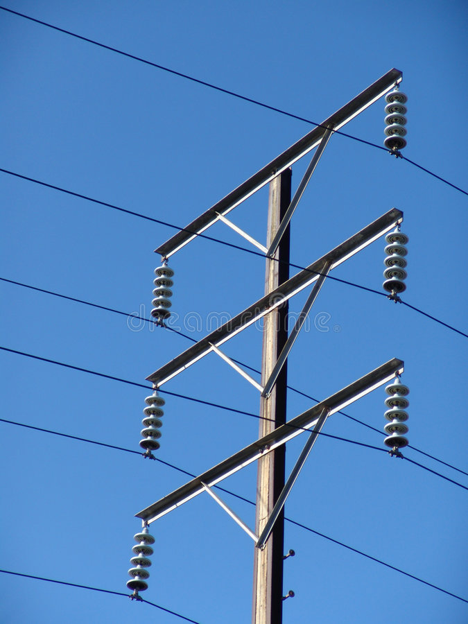 Telephone wire pole. With clear blue sky stock photo
