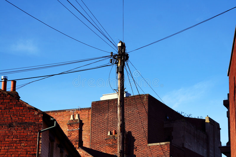 Telephone wire telecommunication. Telephone wires connecting houses. telecommunication infrastructure royalty free stock photo